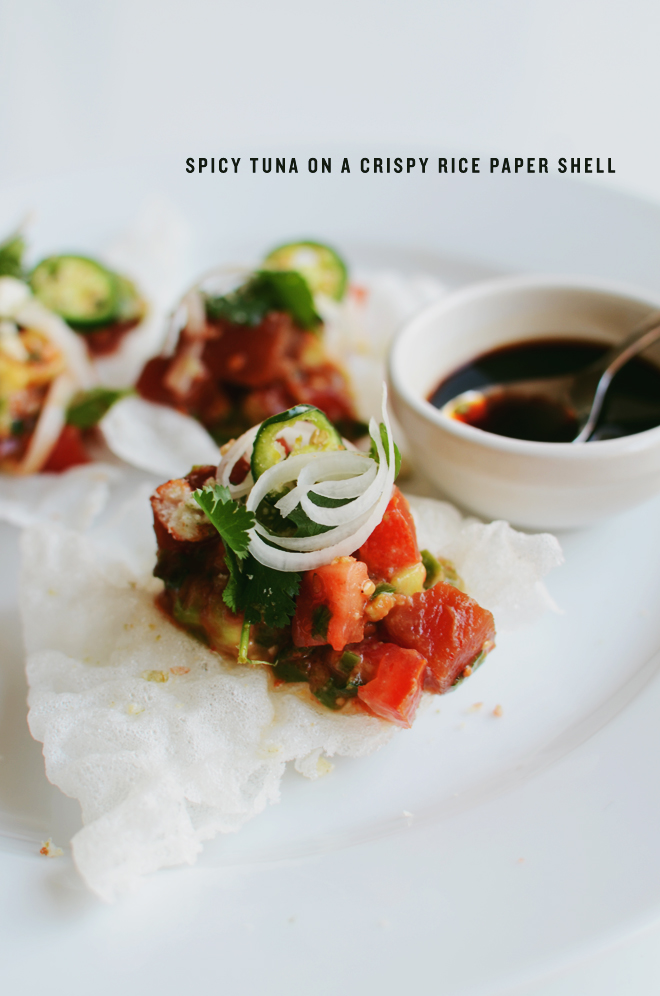 spicy tuna on a crispy rice paper shell
