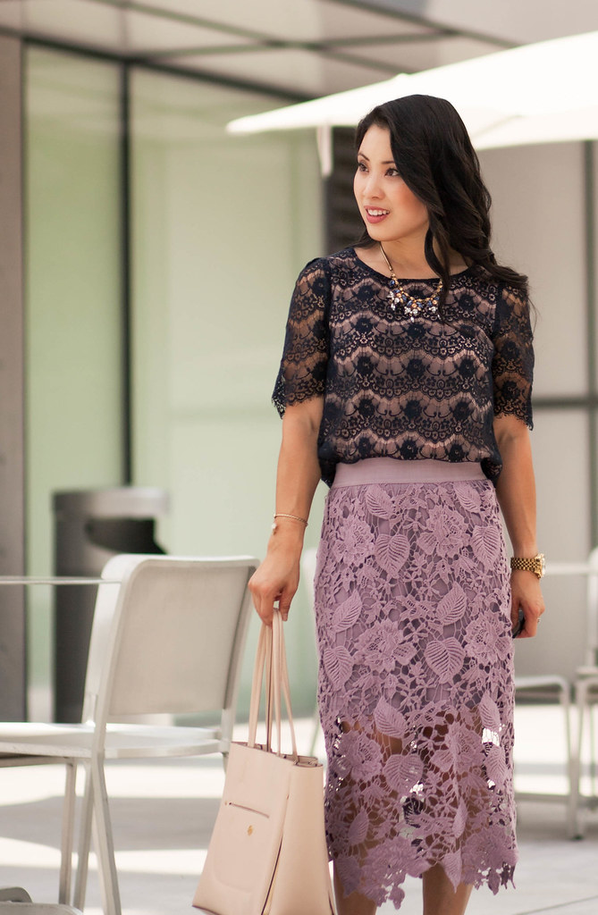 cute & little blog | petite fashion | navy lace top, lavender purple crochet midi skirt, nude bow sandals | spring summer outfit
