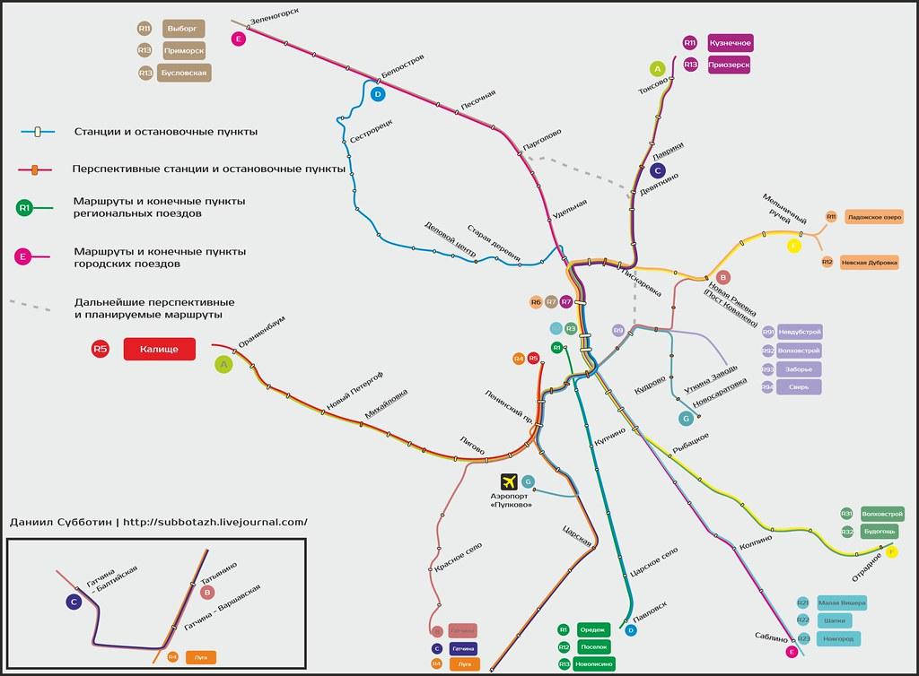 Схема маршрутов городской