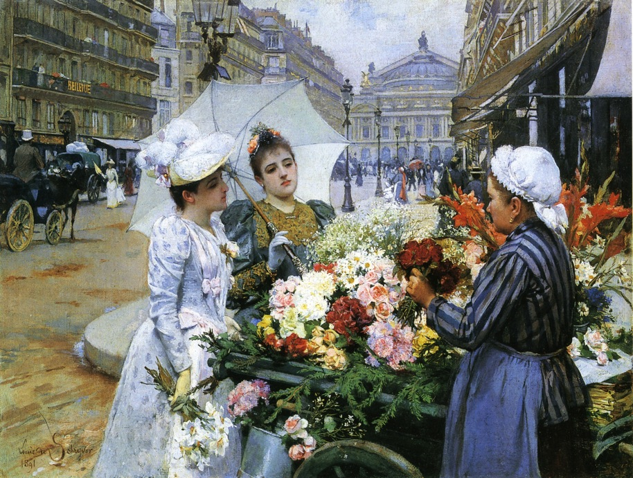 The Flower Seller, Avenue de L'Opera, Paris by Louis Marie de Schryver, 1891