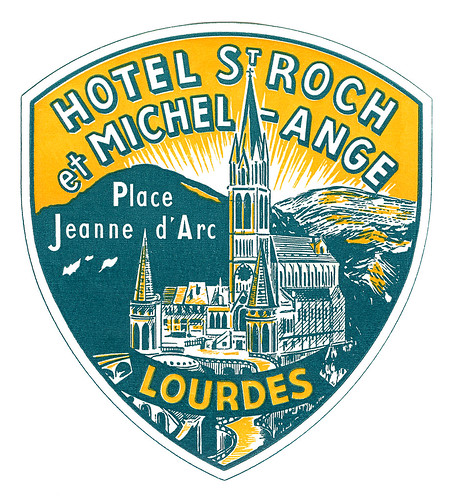 Hotel St. Roch, Lourdes luggage label by totallymystified