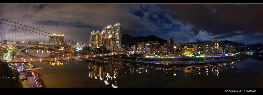2013超級月亮在碧潭 (寬景)
