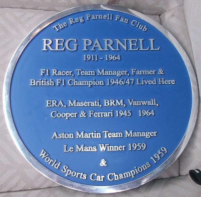 Photo of Reg Parnell blue plaque
