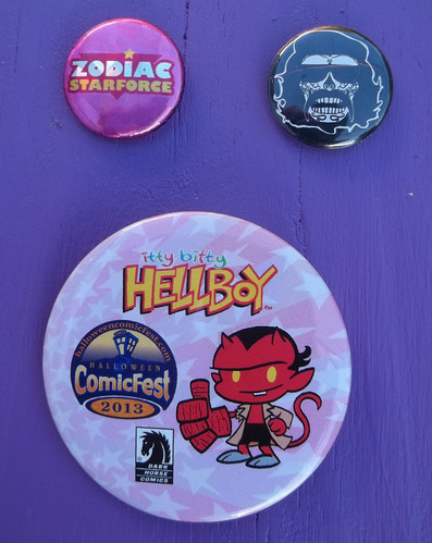 101_6555 Zodiac Starforce webcomic, animator Raul Aguirre Jr, and Halloween comicfest buttons