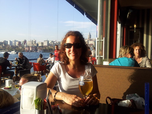Having a beer at a bar on the Galata Bridge