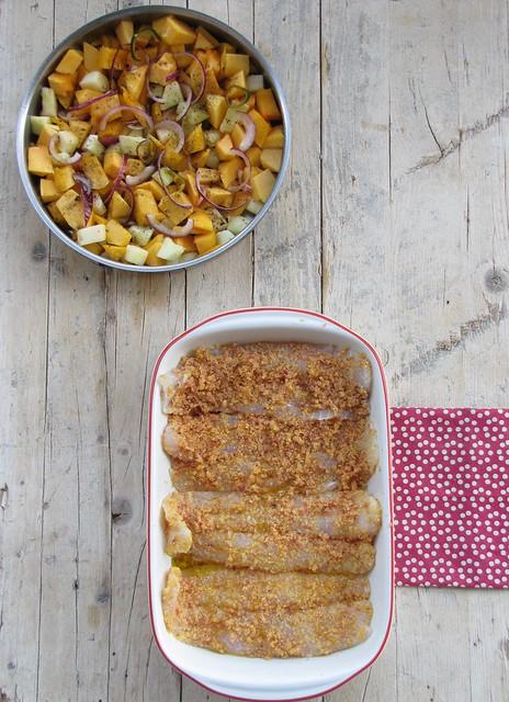 Filetti di Pangasio in Crosta di Speck con Zucca e Melone Invernale Confit