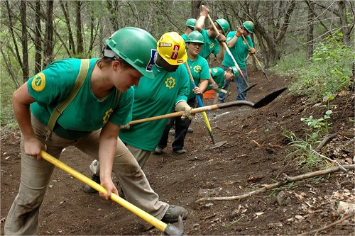AmeriCorps members are restoring trails like the one pictured here, managing forests and working on other critical land management activities.