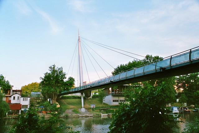 Rabeninselbrücke in Halle (Saale), Germany