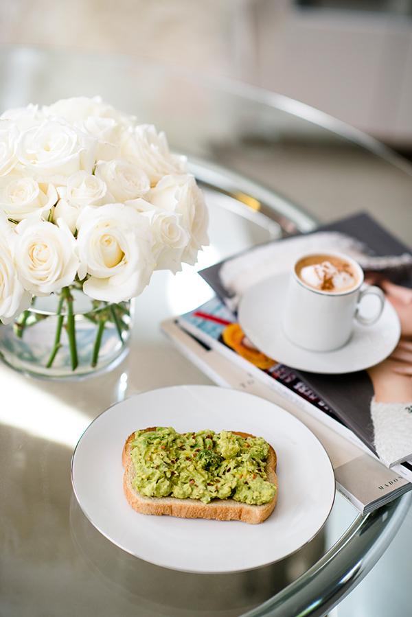 eatsleepwear, home, avocado-toast, roses, espresso
