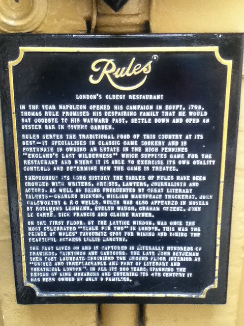 Photo of Edward VII, Lillie Langtry, Thomas Rule, and Rules black plaque