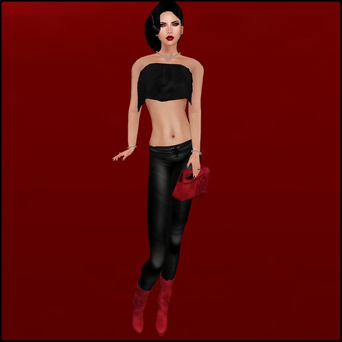 TOPAZIA-  Rosia boots + CLUTCH (mesh)  red by Orelana resident