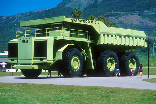 Terex Titan Coal Mining Truck in Sparwood, Elk Valley, BC Rockies, Kootenay Rockies, British Columbia, Canada