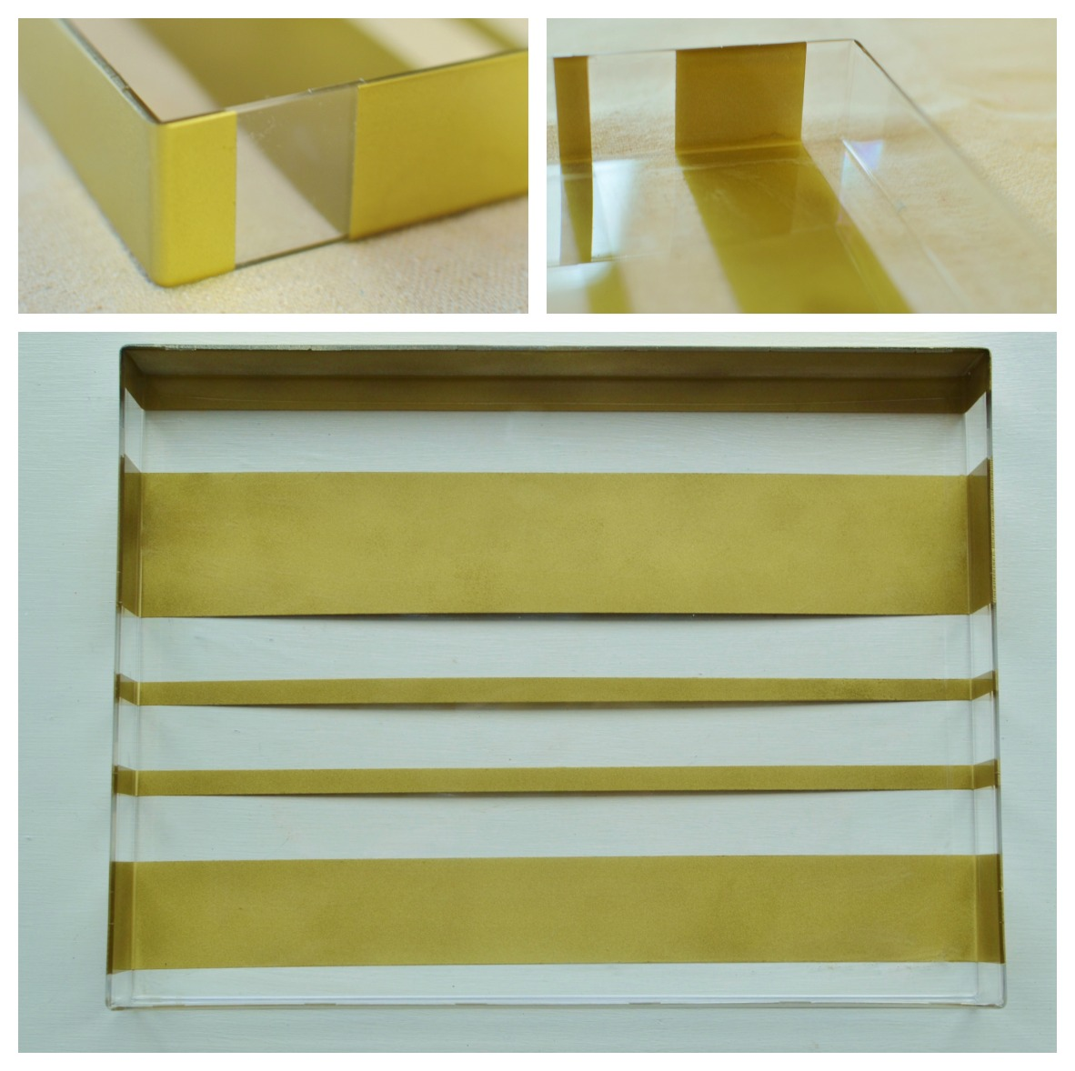 striped acrylic tray