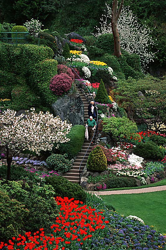 The Stairway at Butchart Gardens, Brentwood Bay, Victoria, Vancouver Island, British Columbia, Canada