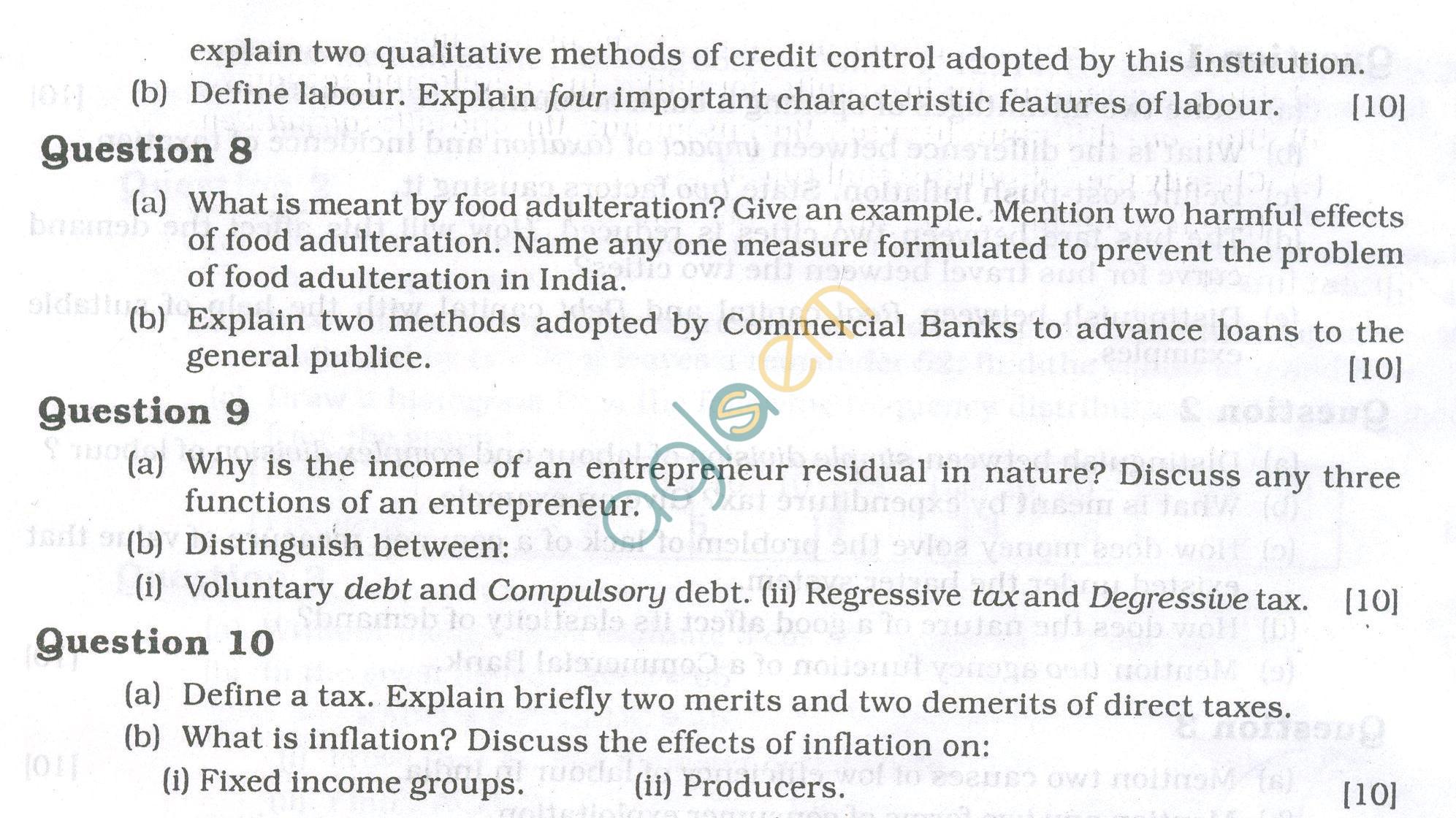 ICSE Question Papers 2013 for Class 10 -Economics