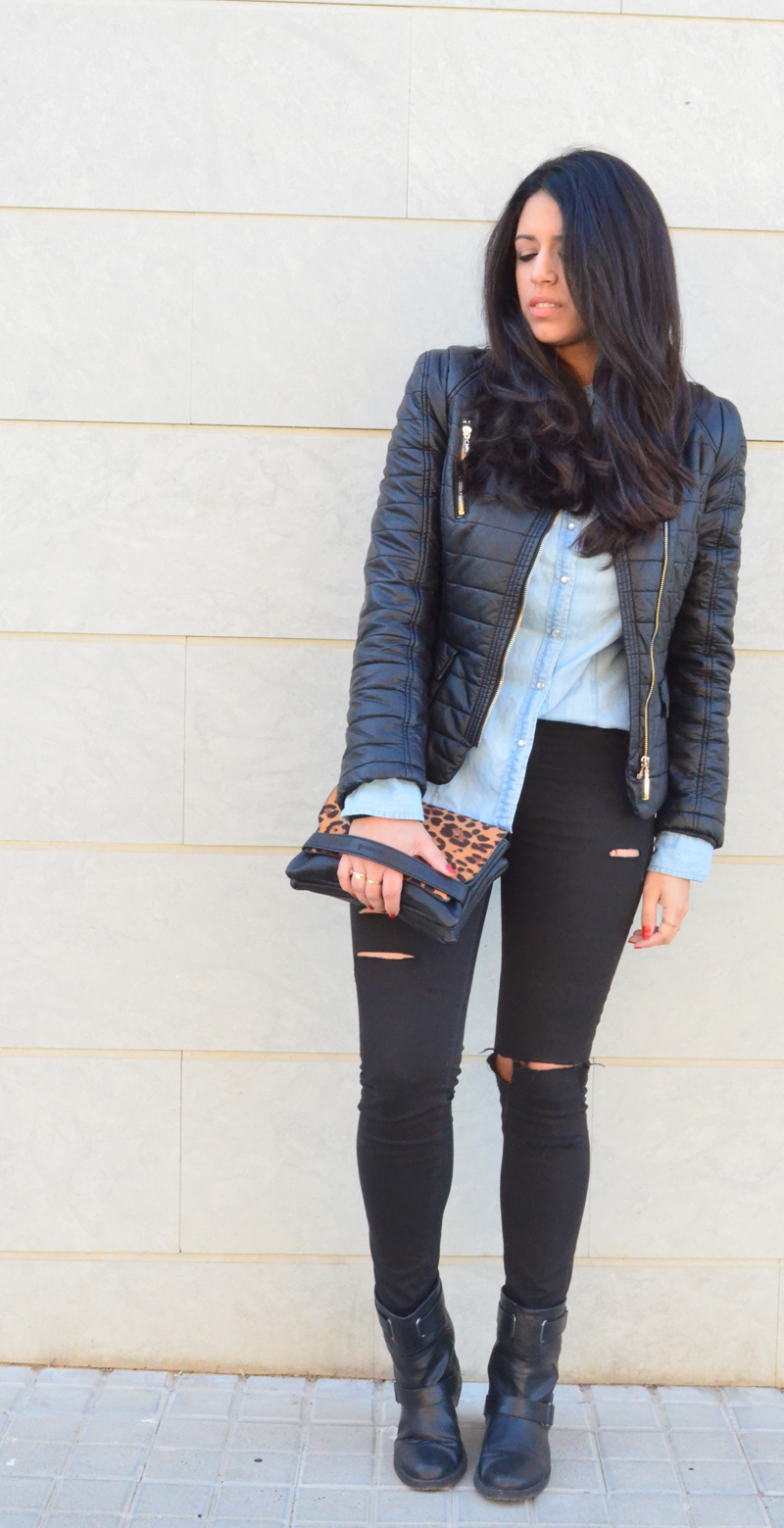 florenciablog look rocker broken jeans inspiration leopard clutch stradivarius how to wear broken jeans