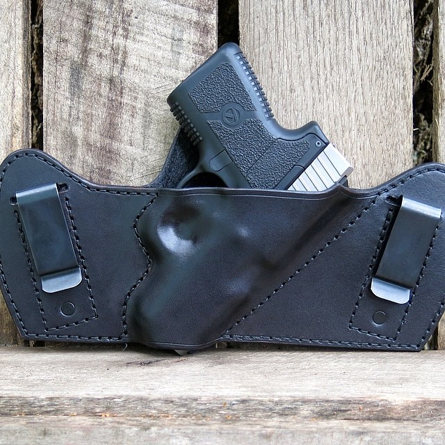 Custom IWB Holster for Kahr PM9 in black cowhide #kahr #ho