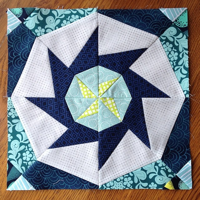 Just a tad behind...but here's my September '13 #luckystarsbom block...3 more to go and I can figure out a final quilt layout