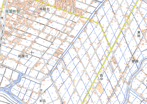 茶屋町駅東部の斜め格子(地理院地図)