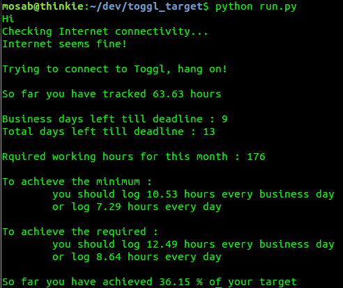 My little open source script Toggl Target in action.