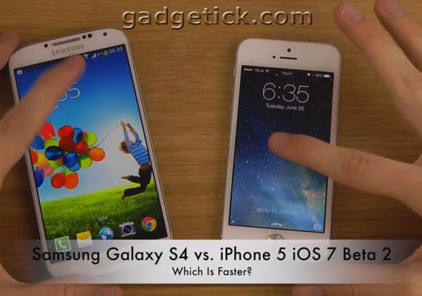 Samsung Galaxy S4 против iPhone 5 iOS 7 Beta 2