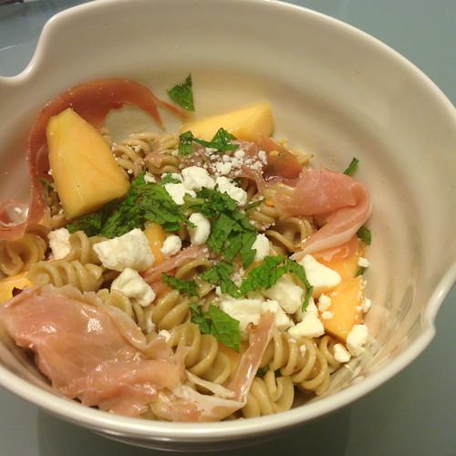 Noms, Not Bombs: Recipe: Pasta w/ Melon, Proscuitto & Ricotta Salata