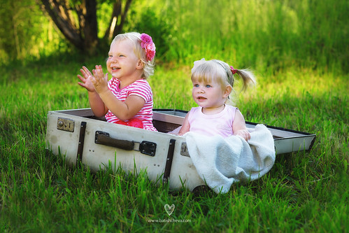 2 sweet babies in a suitcase by LikClick Photography
