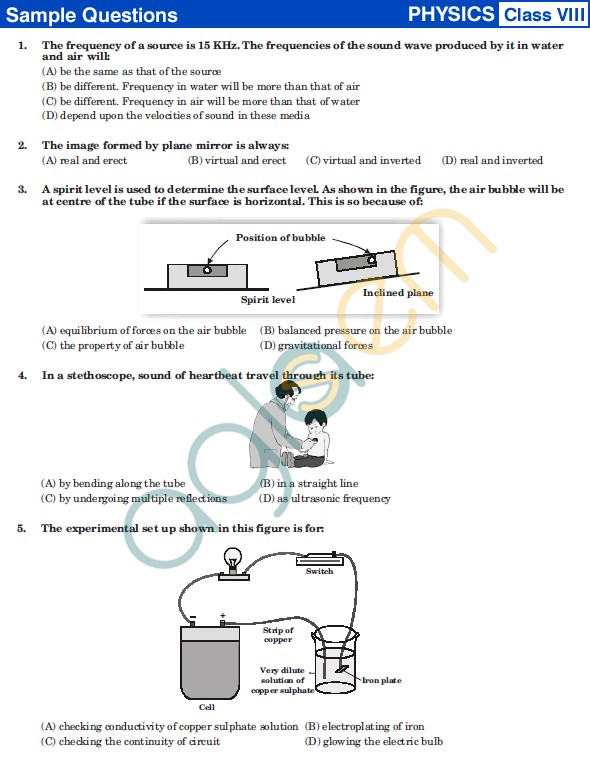 UCO 2013 Sample Papers for ClassVIII - Physics