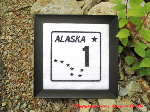 Alaska Highway Sign Cross Stitch