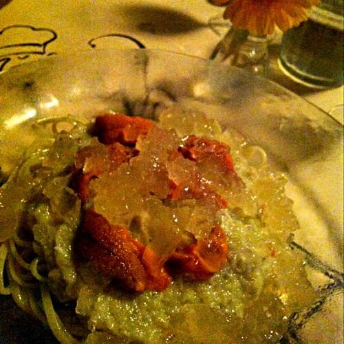 ウニと茄子の冷製パスタ
