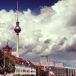 Berlin and blue sky, beautiful together. A shot of the Rotes Rathaus and TV tower. Beer o'clock comes soon.