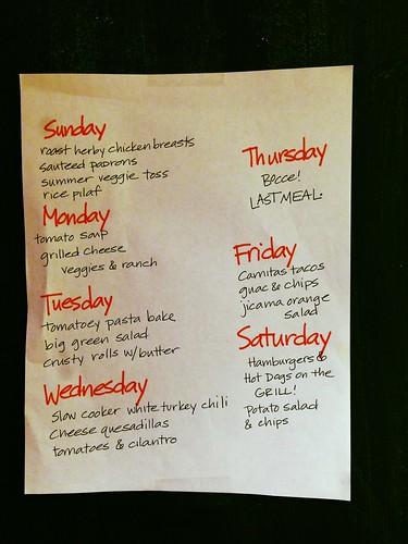 Meal plan, this week