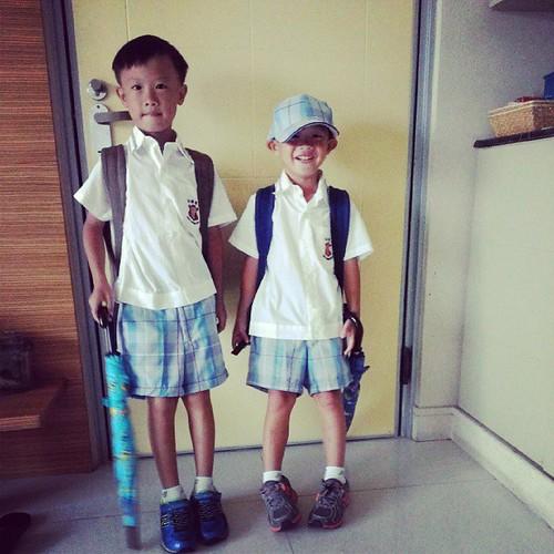 上學去,哇哈哈兩隻都送進小學。