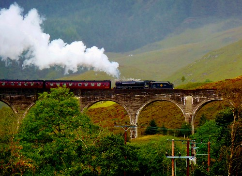 Jacobite Express Steam Train at Glenfinnan, Scotland