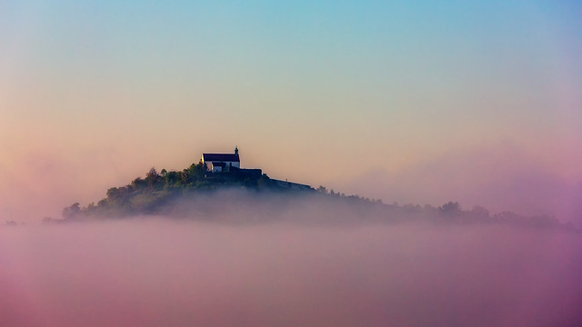 Wurmlinger Chapel rising from Early-Autumn Morning Mist [Explored 2013-09-26]