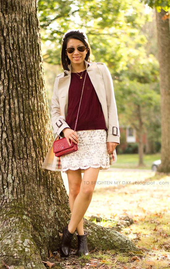 trench, burgundy sweater, lace dress, brown booties