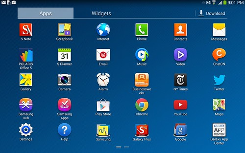 App tray ของ Samsung Galaxy Note 10.1 2014 Edition
