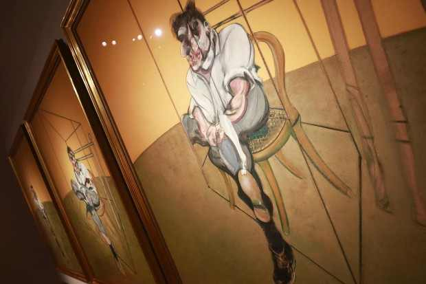 Artist-Francis-Bacon-s-Three-Studies-of-Lucian-Freud-is-seen-during-a-press-preview-at-Christie-s-Auction-House-in-New-York