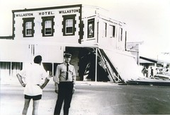 Willaston Hotel 2ndJan1981 Don Window and police after accident. Bunyip 6Jan1982