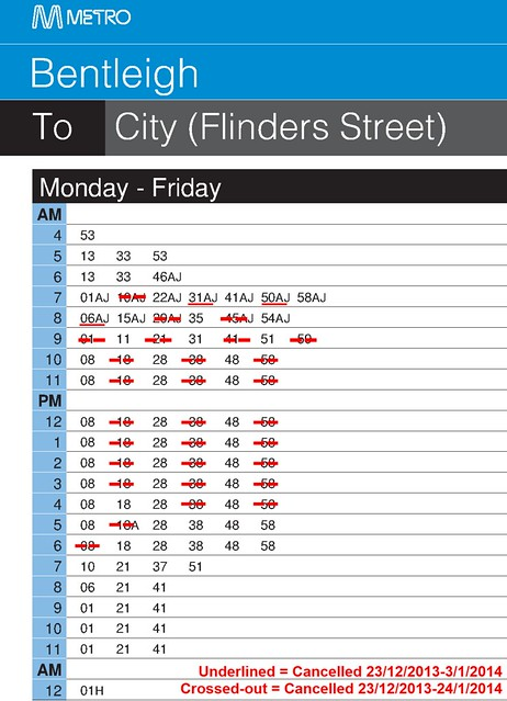 Bentleigh to City summer timetable 2013-14