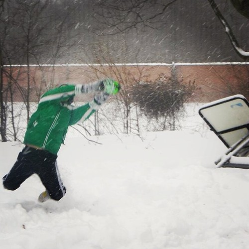 Fair catch! #snowmaggeddon2014 #winter #snow #family