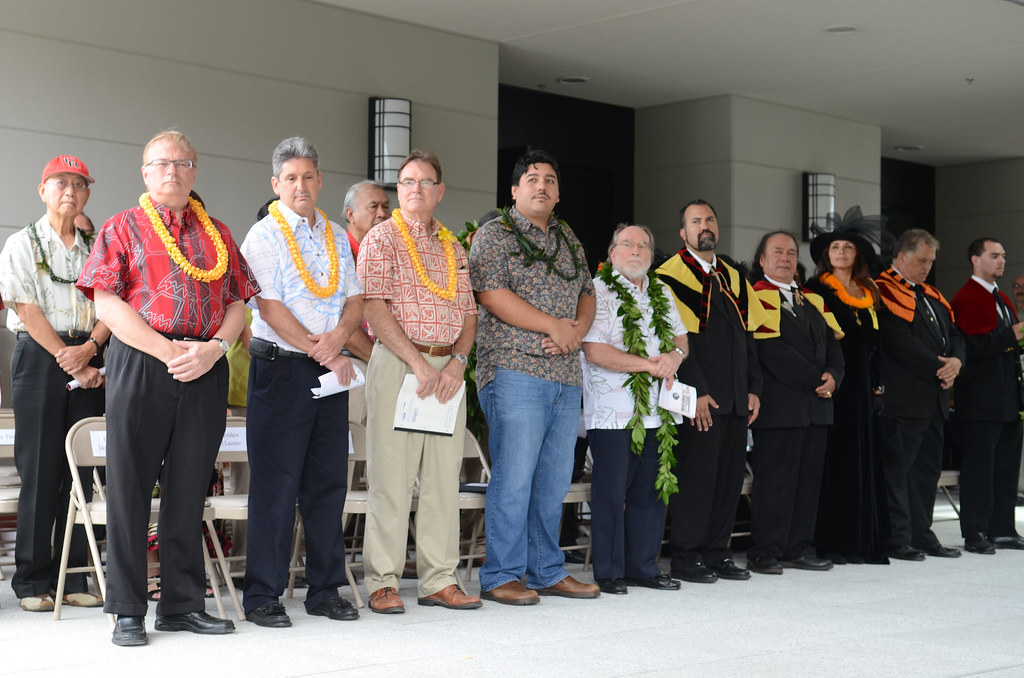 <p>Among those who attended the Haleʻōlelo grand opening were (from left to right) UH Hilo Chancellor Donald Straney, UH Interim President David Lassner, UH Regent Carl Carlson, Hawaiʻi County Mayor Billy Kenoi representative Ilihia Gionson, Governor Neil Abercrombie and members of the Royal Order of Kamehameha.</p>