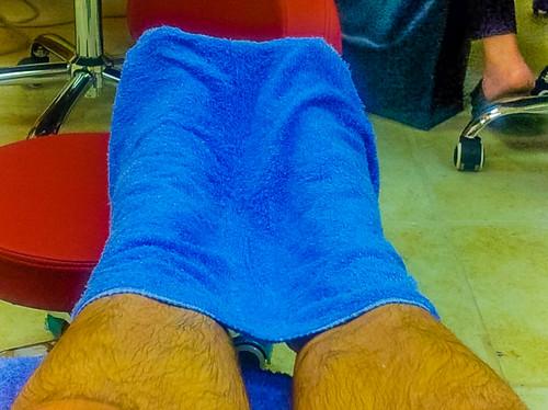 Mani-Pedi with my #CondoSeniors: Towel over my feet