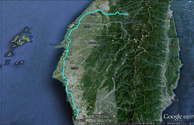 單車:埔里→高雄  260 Km 路線圖