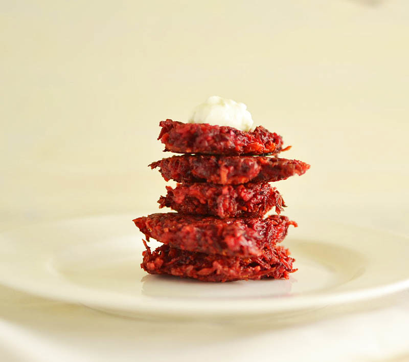 Ruby Red Beet Latkes via LittleFerraroKitchen.com