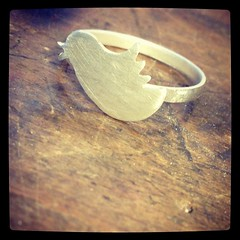 Little bird rings are back from the caster. First one tidied up and ready for its new owner!