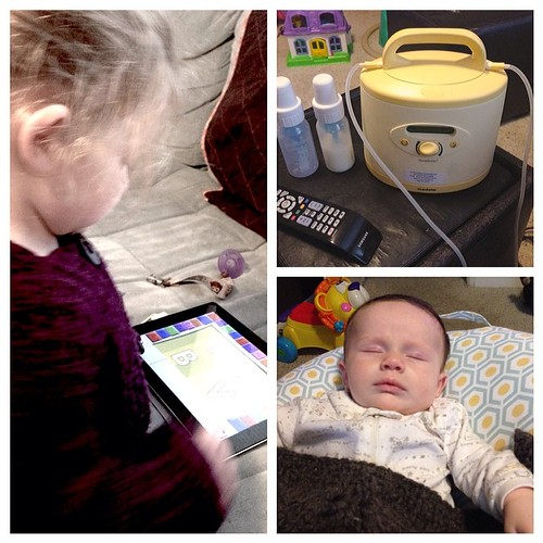 9:58 am Pumping while Maggie naps and Molly is distracted with the iPad. #adayinthelifephotochallenge