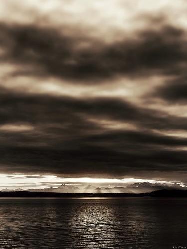 sunset blackandwhite beach nature water monochrome weather sepia clouds mono washington interesting rich explore pugetsound pnw bnw cloudporn edmonds iphone tatum blogrodent richtatum iphoneography