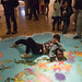 "Vivian Fu on the floor of our new mural, ""An Ode To California"" by kozyndan"