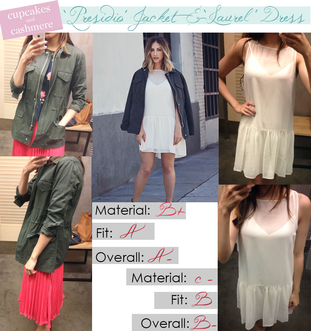 Cupcakes and Cashmere clothing line review for Presidio jacket and Laurel dress